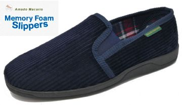 Men's Corduroy Slippers Navy Blue